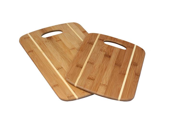 Two piece bamboo cutting board set