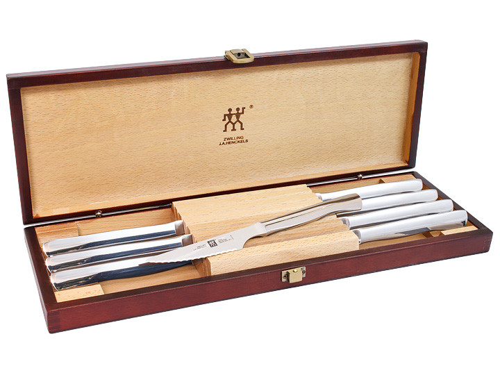 zwilling ja henckels stainless 8 piece steak knife set in box - Henckels Knife Set