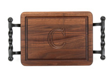 Monogrammed Walnut Cutting Board with Iron Handles