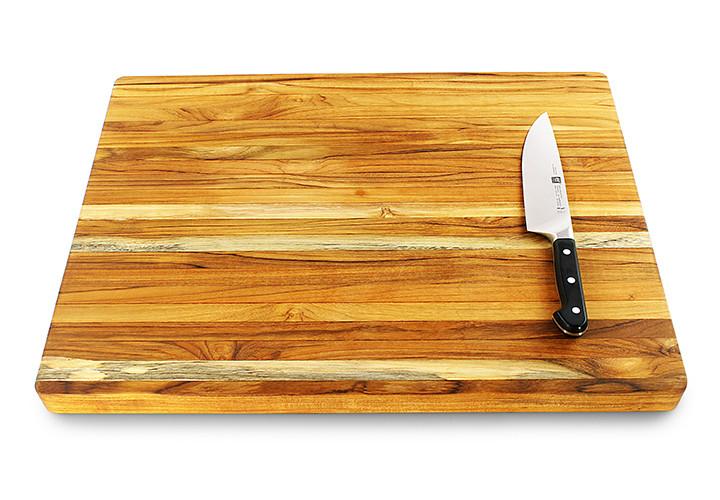 Teak Cutting Board with Knife