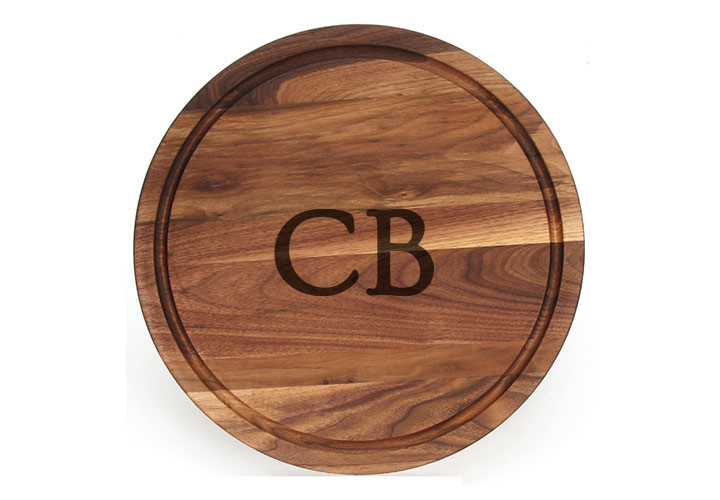 Monogrammed Walnut Round Cutting Board