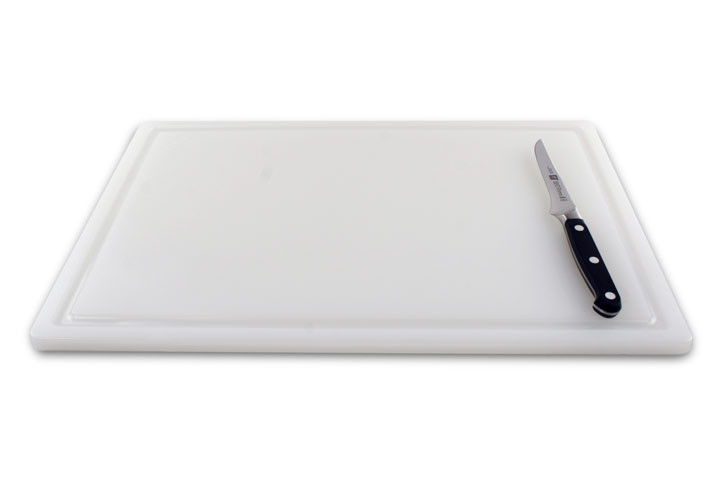 Poly White Cutting Board with Groove and Drip 18 x 12