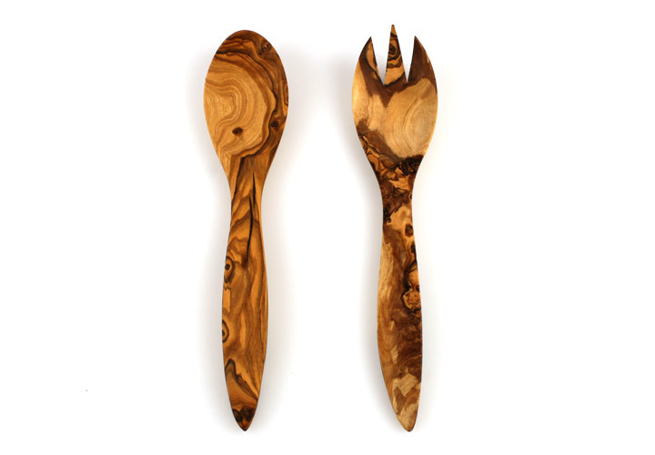 Tuscan style olive wood salad servers