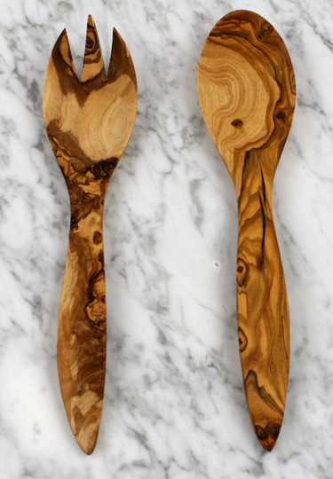 Hand carved olive wood salad serving set in