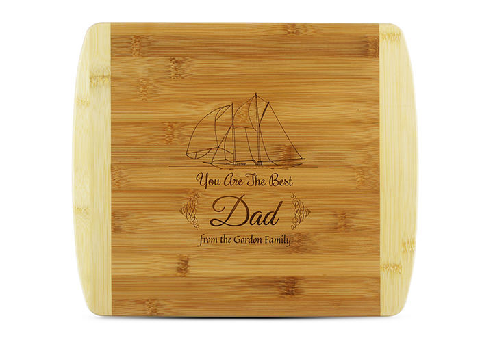 Personalized Cutting Board for Dad, Boat Theme in Bamboo