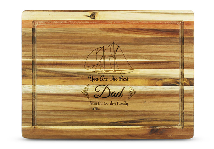 Personalized Cutting Board for Dad, Sailing Theme in Acacia