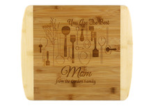 Engraved Cutting Board for Mom, Chef Theme in Bamboo
