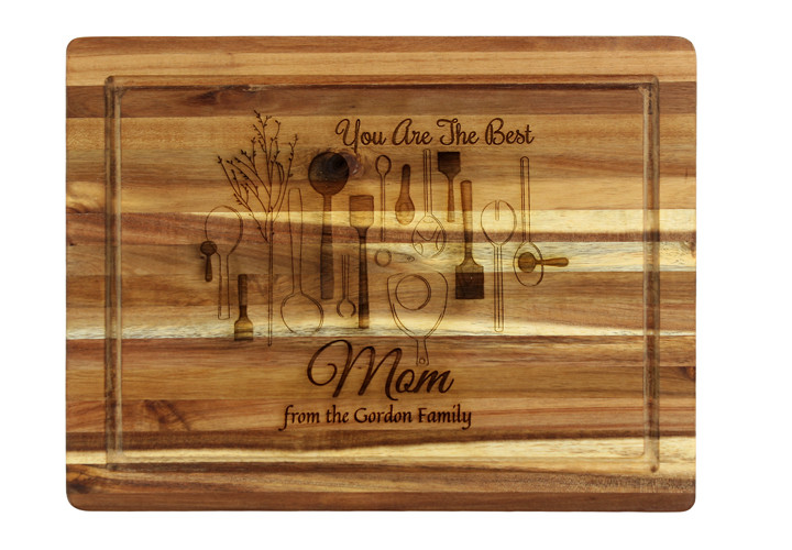 Personalized Cutting Board for Mom, Chef Theme in Acacia