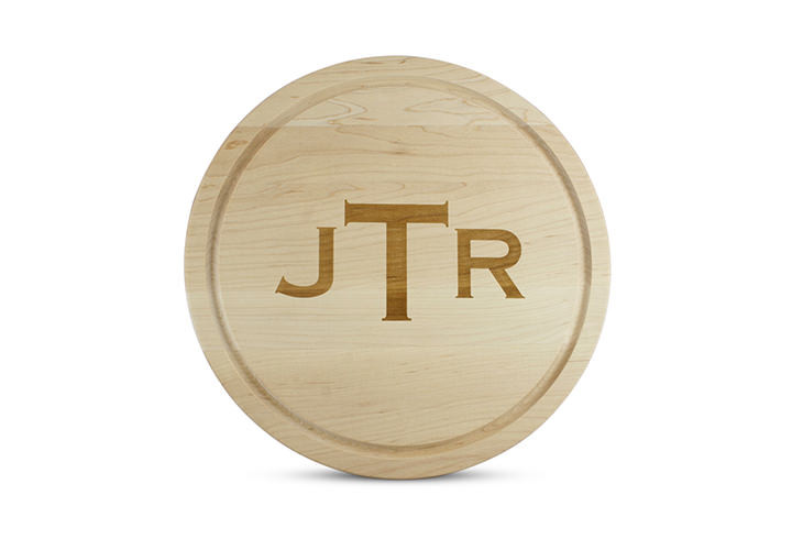 "Monogrammed 16"" Round Maple Cutting Board"
