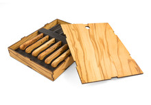 Olive Wood Steak Knives Set of 6 in Gift Box