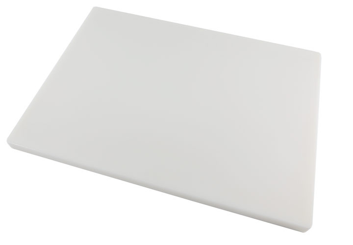Large white plastic cutting board