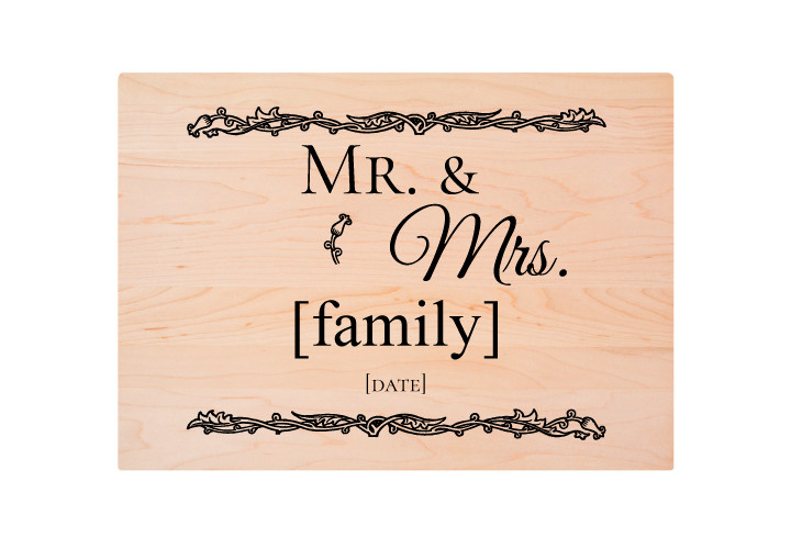 Mr. & Mrs. Custom Engraved Cutting Board