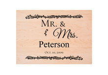 "Personalized Cutting Board with ""Mr. & Mrs."" Engraving"