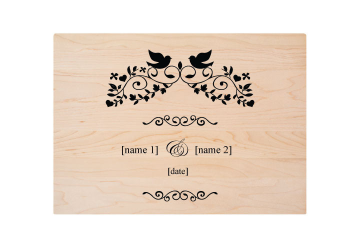 Personalized Wedding Lovebirds Design Cutting Board