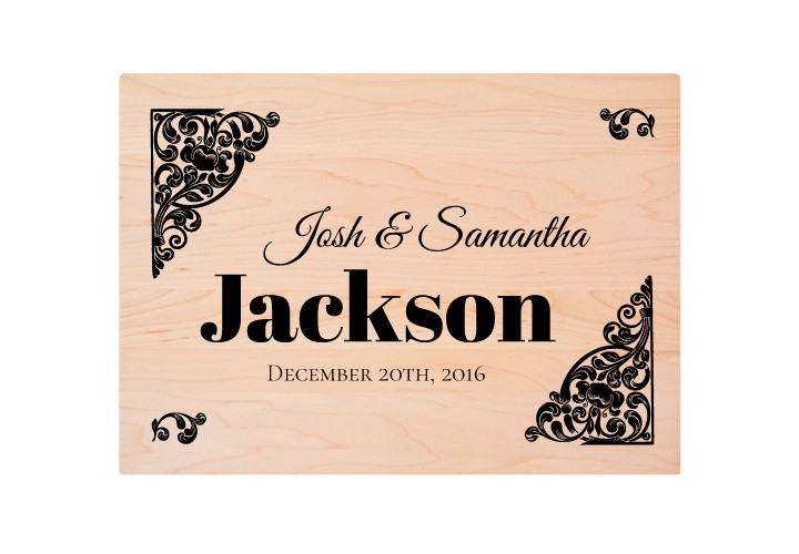 Cutting Board Wedding Engraving with Surname