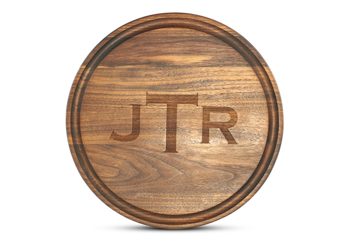 Monogrammed Round  Walnut Cutting Board