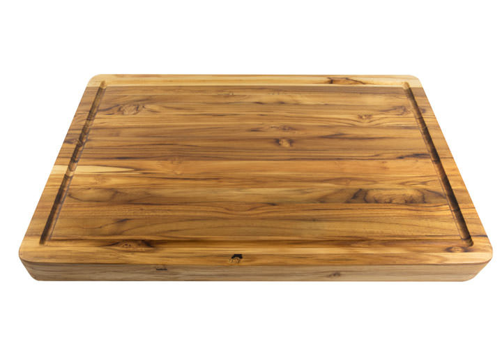 Terra Teak carving board with juice groove and well