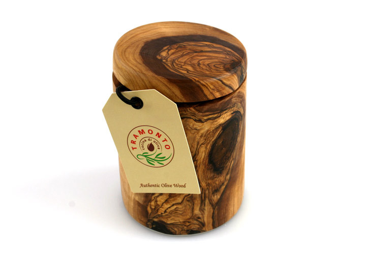 Tramanto olive wood spice jar