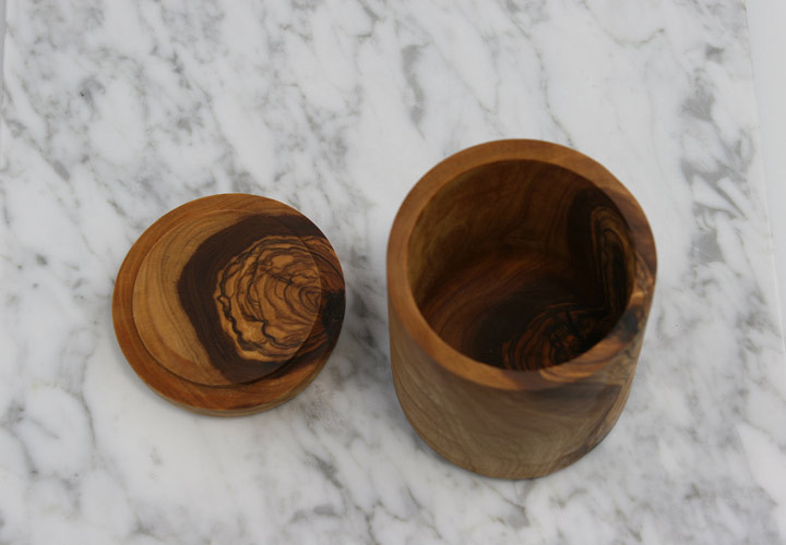 Olive wood carved spice jar with matching lid