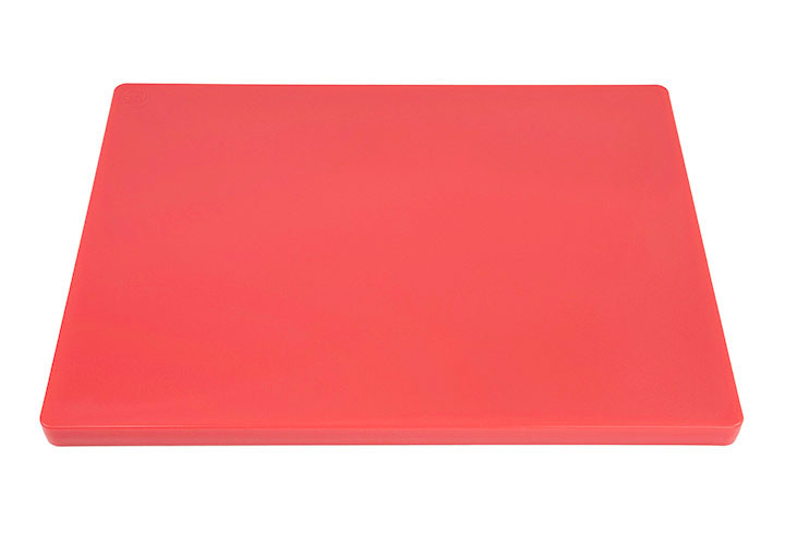 Red commercial HDPP cutting board.