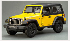 1/18 Maisto Jeep Wrangler w/ Top (Yellow) Diecast Model