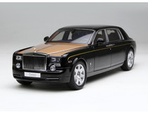 1/18 Kyosho Rolls-Royce Phantom EWB (Black w/ Gold Hood) Diecast Car Model