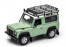 1/24 Welly Land Rover Defender Fire Ice (Green) Diecast Car Model