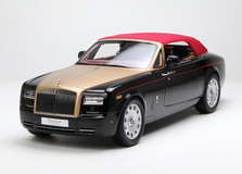 1/12 Kyosho Rolls-Royce Phantom Drophead Coupe Convertible (Black w/ Golden Hood) w/ Lights Diecast Car Model
