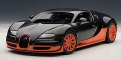 1/18 AUTOart BUGATTI VEYRON SUPER SPORT (CARBON BLACK/ORANGE SIDE SKIRTS) Diecast Car Model 70936