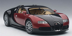 1/18 AUTOart BUGATTI EB 16.4 VEYRON PRODUCTION CAR (INTERIOR IN BEIGE / BODY SHELL IN BLACK/RED)(LIMITED EDITION OF 1,200 PIECES WORLDWIDE) Diecast Car Model 70909
