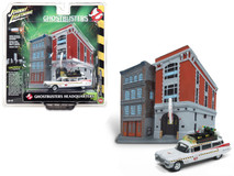"1/64 Johnny Lightning 1959 Cadillac Ecto-1A Ambulance with Firehouse Exterior Diorama from ""Ghostbusters II"" (1989) Movie"