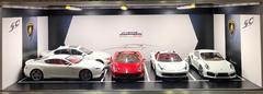 1/18 Lamborghini Theme 4 Car Garage Parking Car Repair Spot Scene w/ Lights (car model not included)
