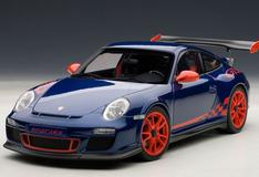 1/18 AUTOART PORSCHE 911 997 GT3 RS 3.8 BLUE W/ ORANGE RIM Diecast Model 78144