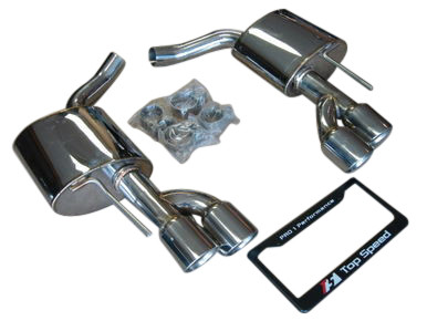 Mercedes Benz R230 SL500 SL550 SL600 03-12 Top Speed Pro 1 Axleback Exhaust Systems Quad Round Tips