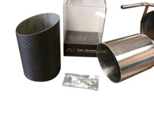 """Top Speed Pro1 Universal 114MM 4.5"""" Slide on Carbon Fiber Tip Exhaust Upgrade , Angle Cut"""