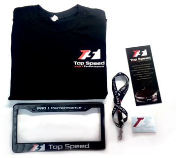 Top Speed Pro-1 Performance Accessories Package Lanyard + License Plate Frame + T-Shirt