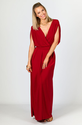 Batwing Style Maxi Dress - Sangria