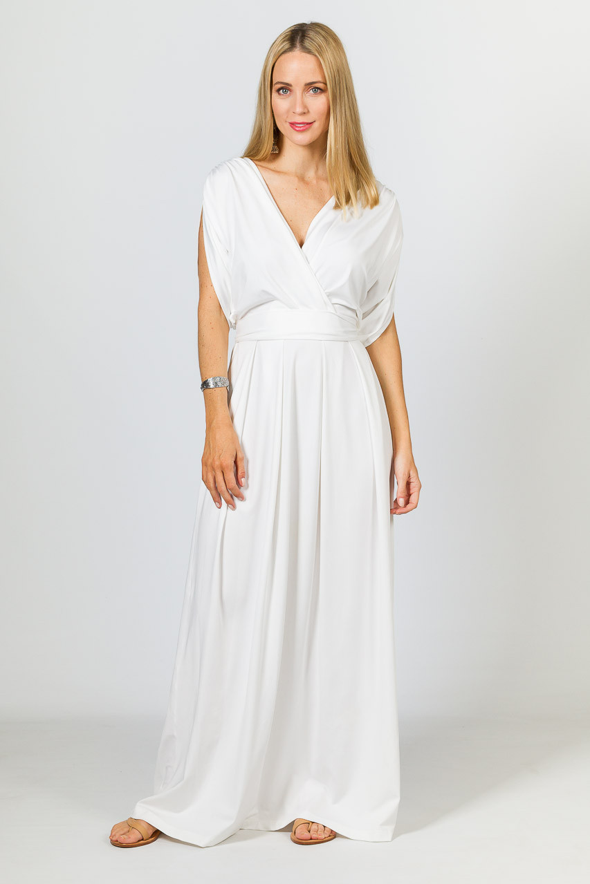 0d9be22f3b5b4 Batwing Style Maxi Dress - White - P.S. Frocks