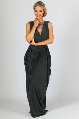 Aphrodite Maxi Dress - Grey Moss
