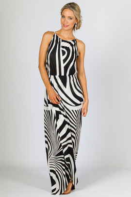 Peyton Maxi Dress - Black Zebra