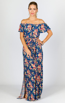 Belle Maxi Dress - Blue Floral