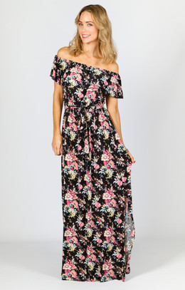 Belle Maxi Dress - Black Floral