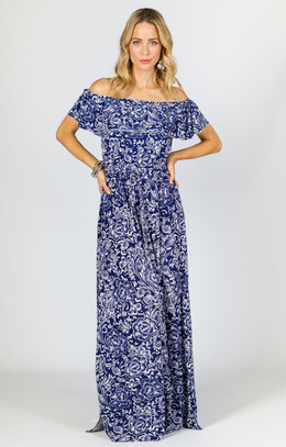 Belle Maxi Dress - Navy Print