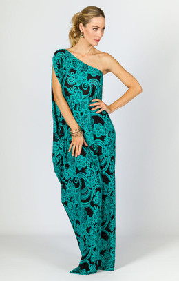 One Shoulder Long Maxi Dress - Green Print