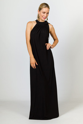 Tie Neck Maxi Dress - Black