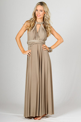 Multi Way Wrap Maxi Dress - Latte