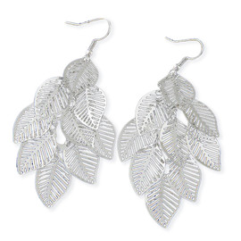 Silver Skeleton Leaf Earrings