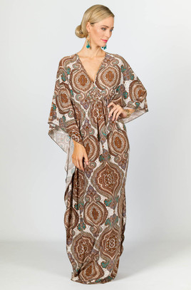 Keira Maxi Dress - Brown Graphic