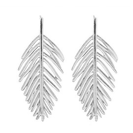 Silver Hollow Leaf Earrings