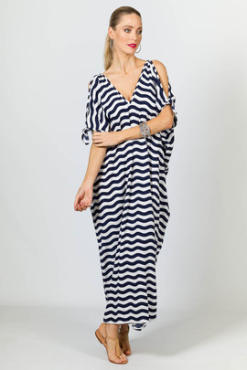 Ivy Maxi Dress - Navy Chevron